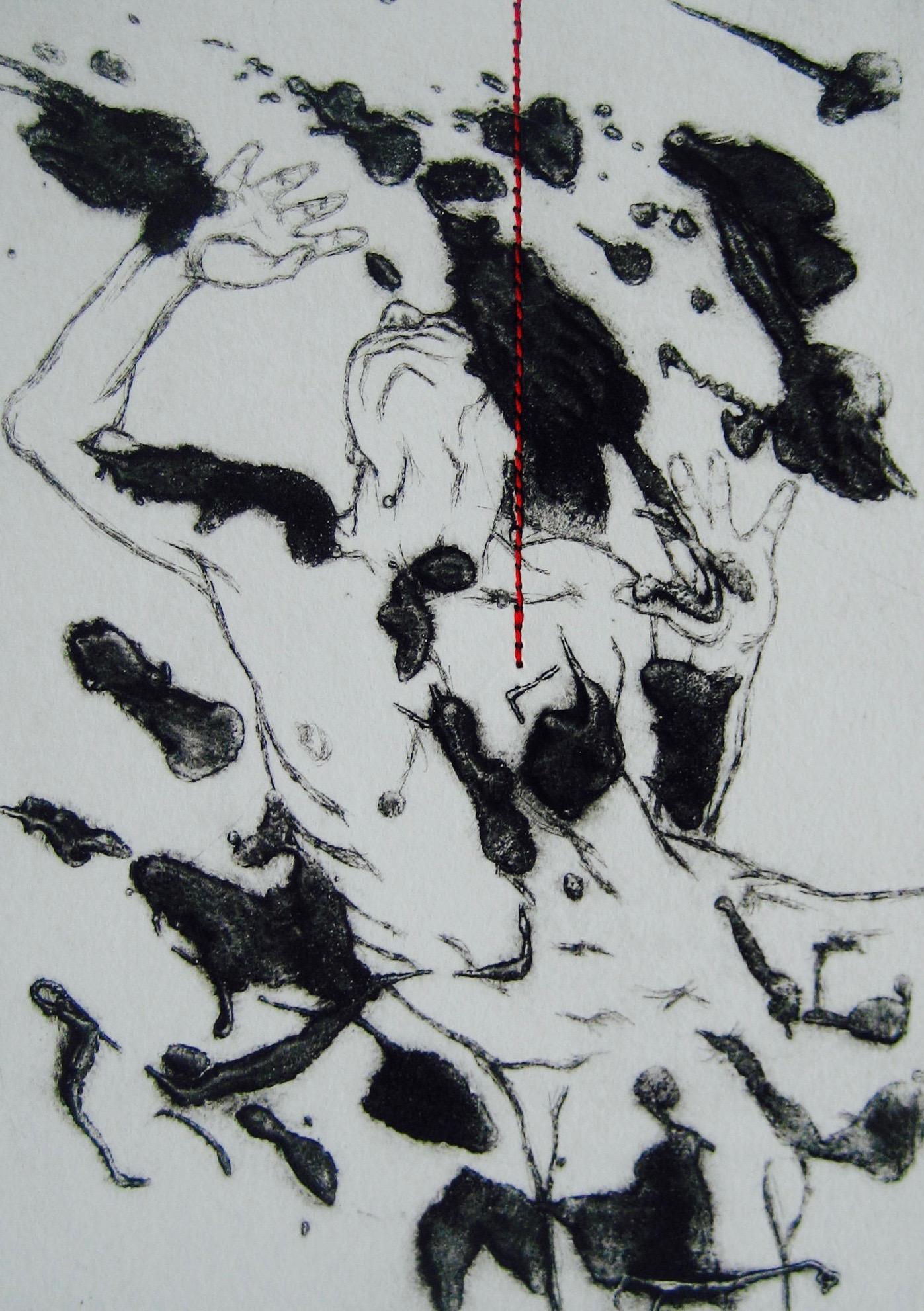 Sans titre - Pointe sèche et carborundum sur zinc, couture - 2014