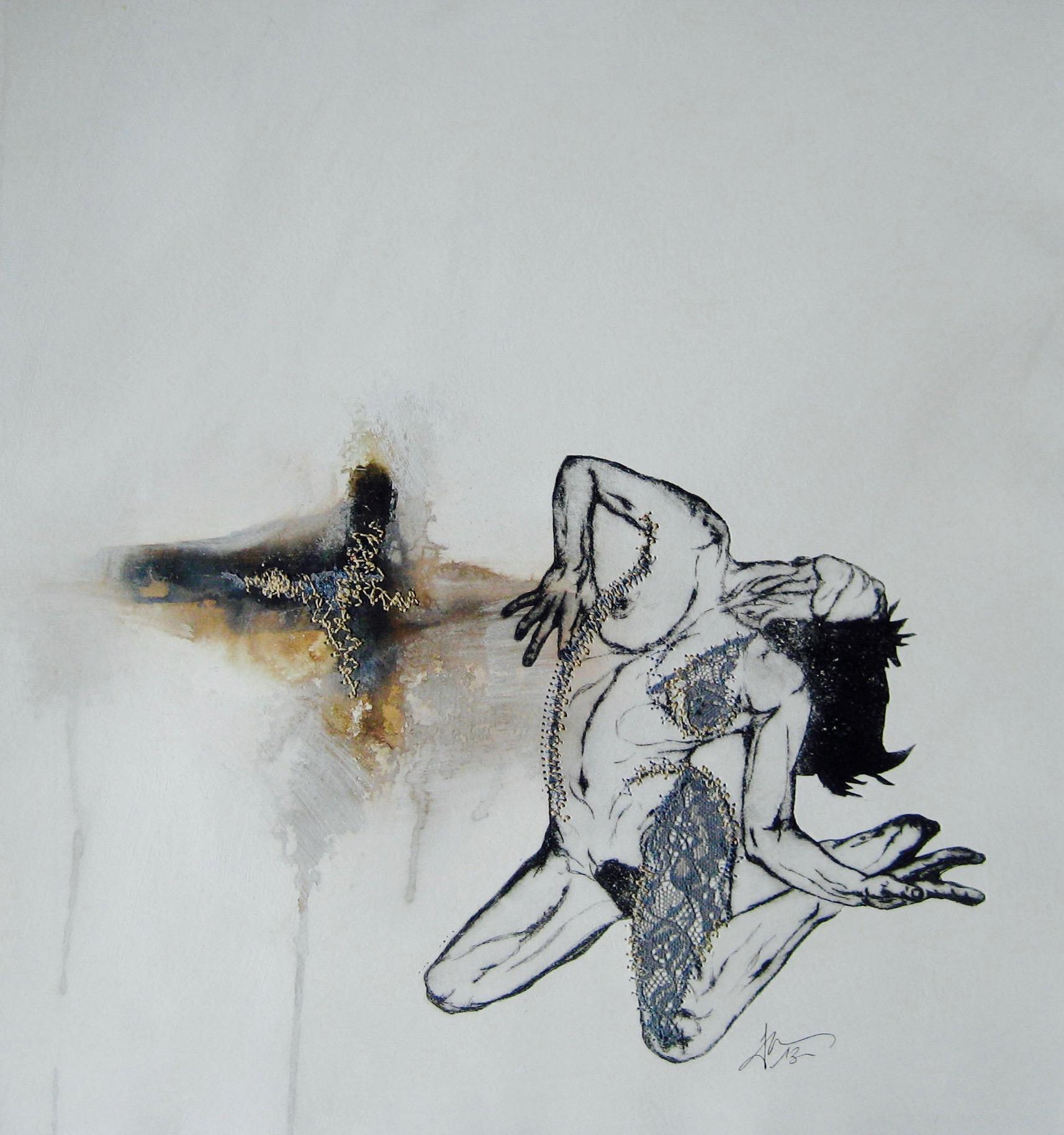 Sans titre - Pointe sèche et carborundum sur rhénalon, peinture acrylique, dentelle de Calais et couture - 2013