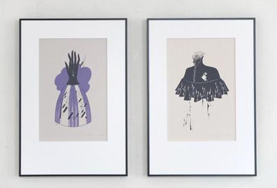 リトグラフ作品《Ash Wednesday》(左)/《喪の都邑(みやこ)》