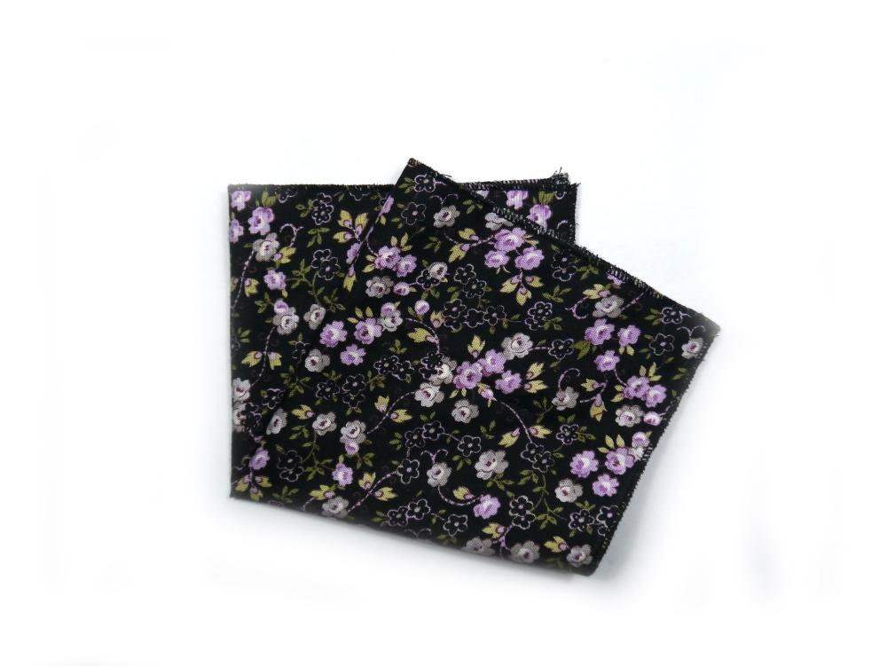 Einstecktuch schwarz lila Blumen