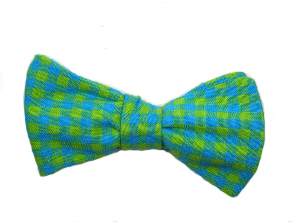 Grüne - gelbe - blaue karierte Herren Anzug Schleife zum selberbinden – Selbstbinder