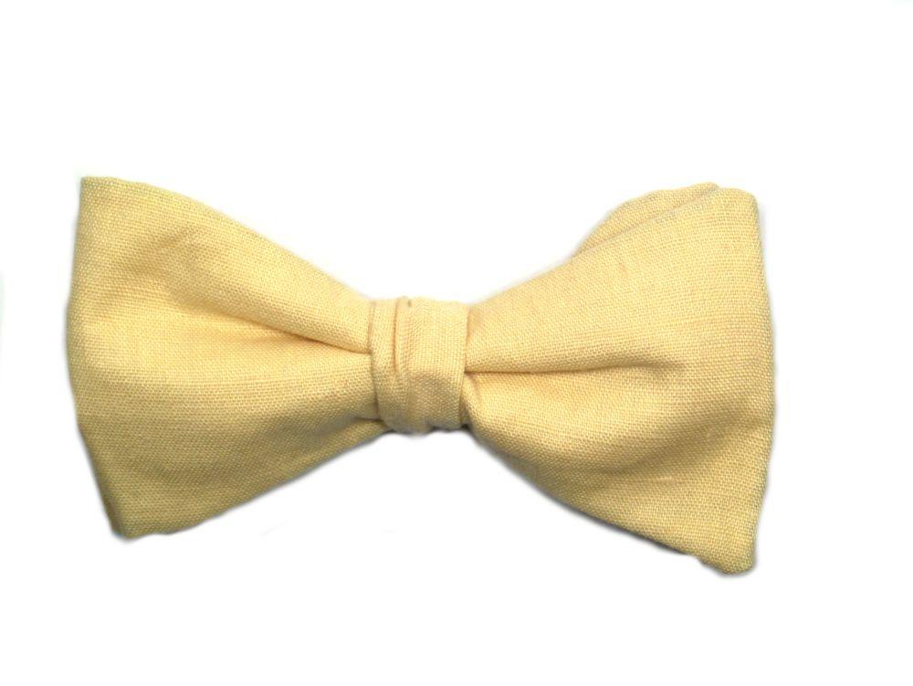 Gelbe Herren Anzug Fliege aus Leinen zum selbstbinden