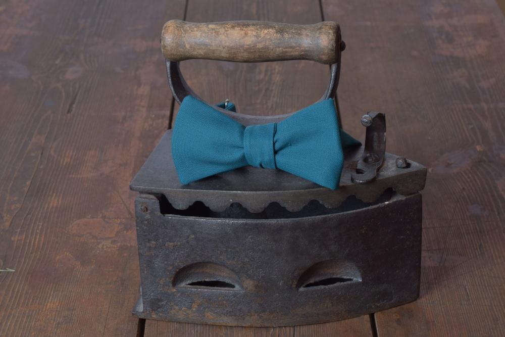 Herren Anzug Schleife petrol blau zum selberbinden – Selbstbinder