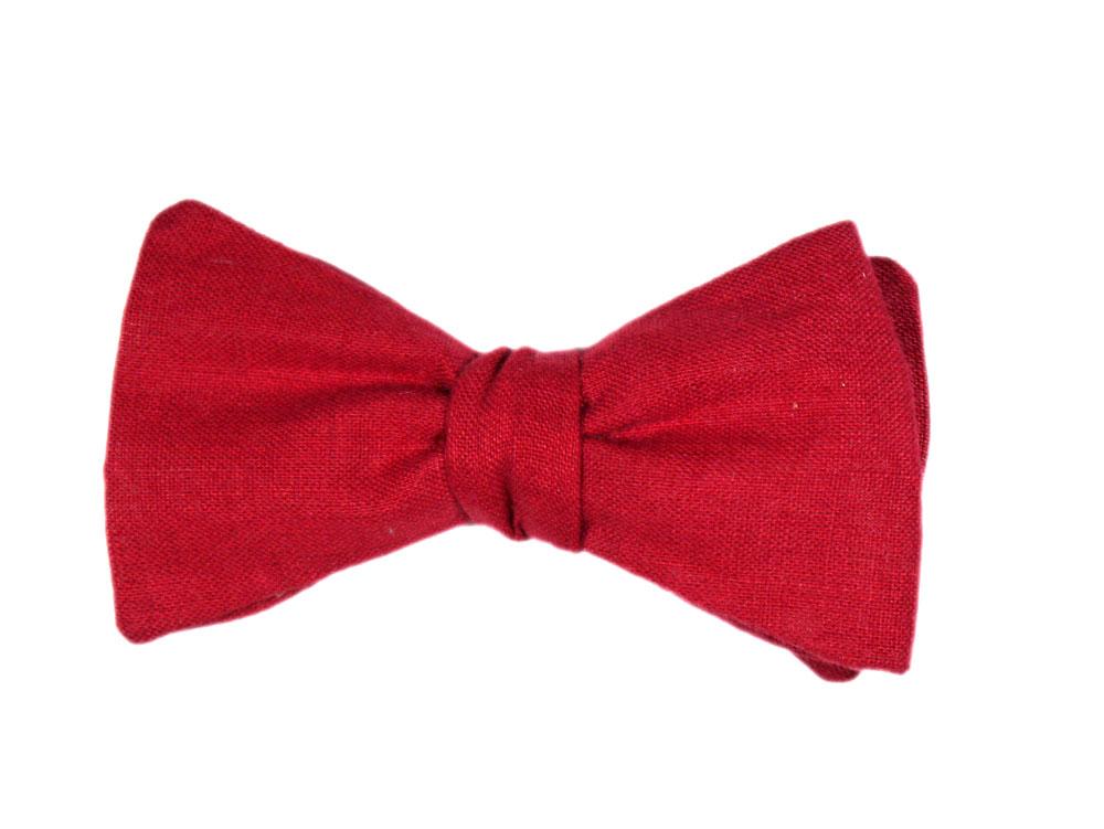 Herren Anzug Schleife rot aus Leinen zum selberbinden – Selbstbinder
