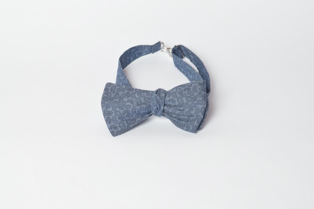 Herren Anzug Schleife dunkelblau Paisley zum selberbinden – Selbstbinder