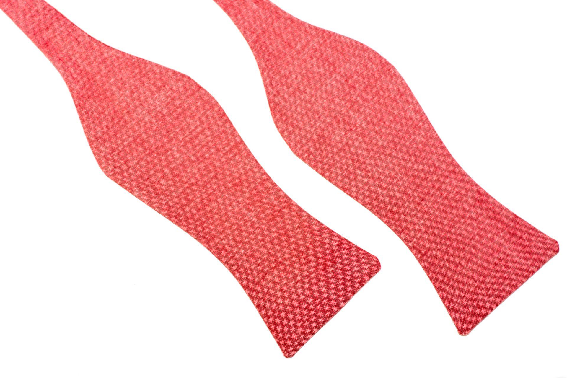 Herren Anzug Schleife lachsfarben rose aus Leinen zum selberbinden – Selbstbinder