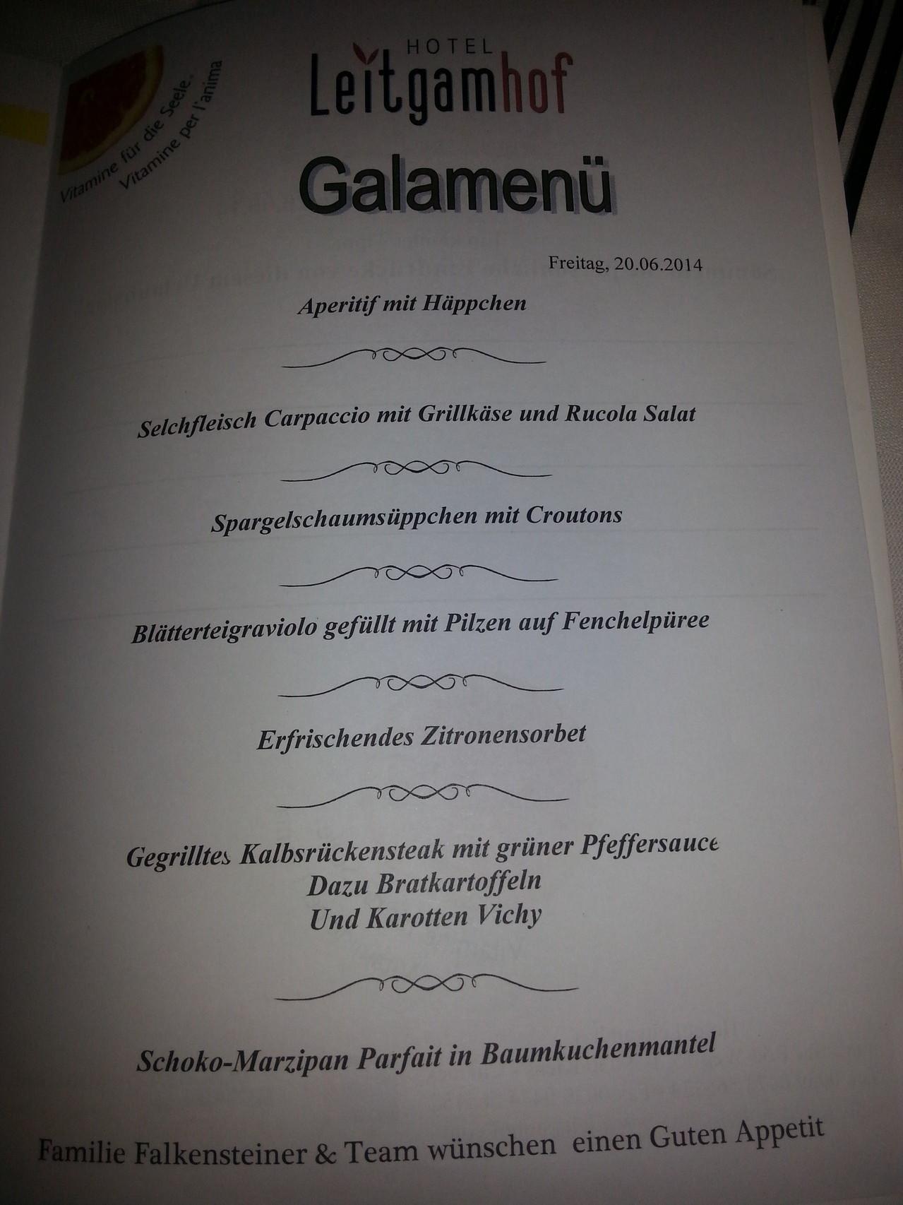 Galadinner - jeden Abend war das Essen großartig