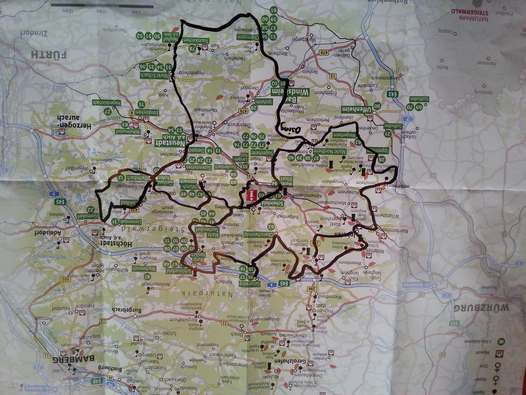 unsere Strecke: 250 km im Landkreis