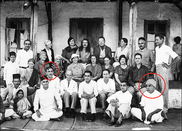 Chanji and Masaji (circled left and right) amidst other Eastern and Western disciples, Lower Meherabad, 23 January 1937. (Photo courtesy MN Publications)