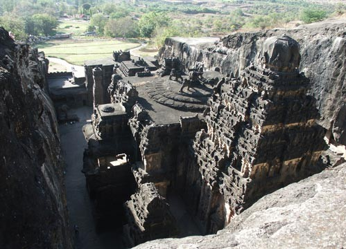 Kailasha Temple : Cave 16 - rear view from top of cliff