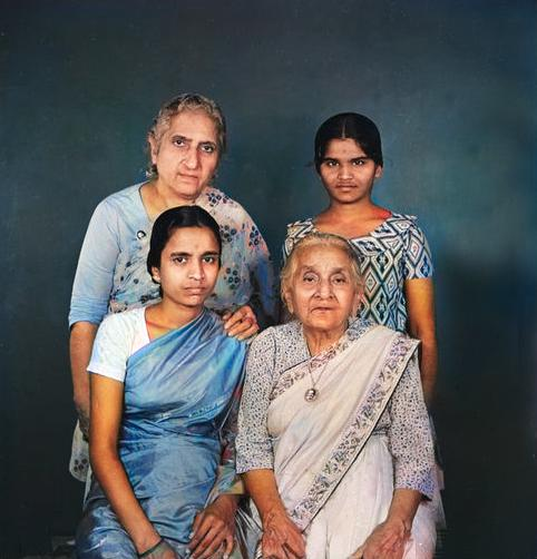 Khorshed ( top left ) and her mother Soonamai Irani ( lower right ). The 2 young ladies are unknown. Image colourized by Anthony Zois.