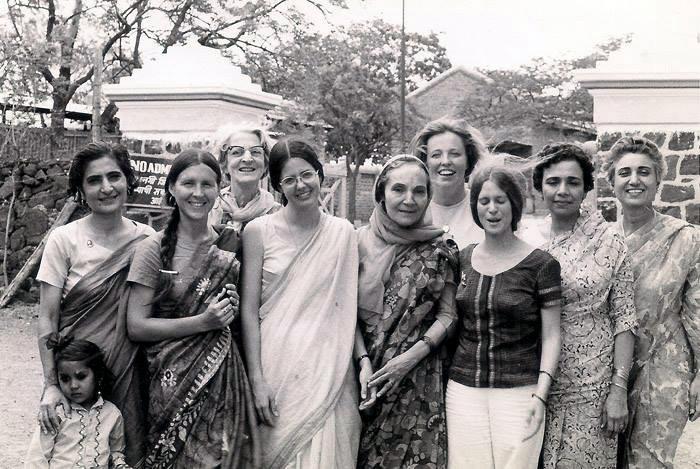 Meherabad, India - Mid-1970s (L-R) Meheru Irani, ?, Rano Gayley, Anne Giles, Mehera Irani, Ute Bowman, Joyce Barrison and Arnavaz Dadachanji & Katie Irani