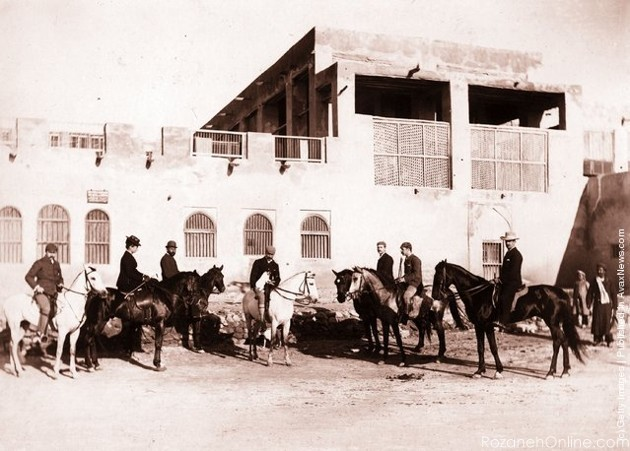 British residents on horseback outside the British Post Office and Residency in the port of Bushire.jpg