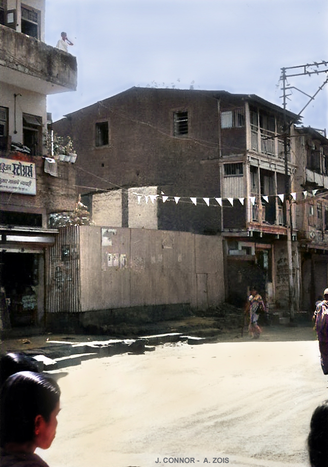 1976 : site of the Kasba Peth Toddy Shop in Poona -Original B/W photo taken by John Connor. Colourization by Anthony Zois.