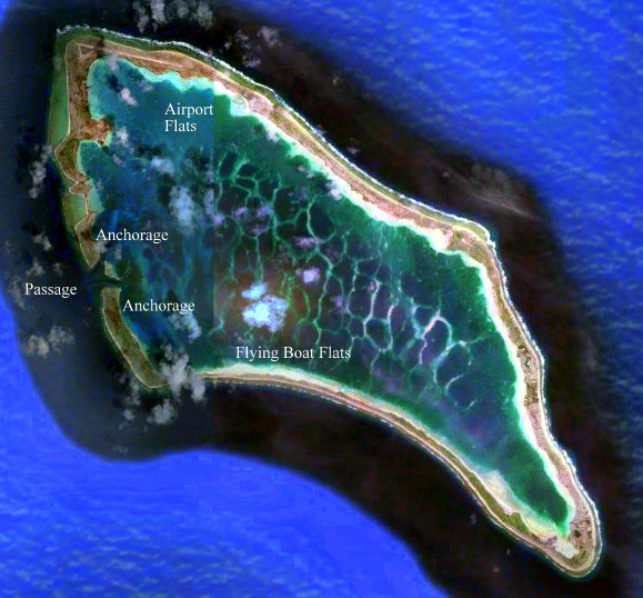 The airfield is located on the top left of the island image