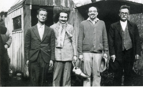 ( L to R ) Sam Cohen, Meher Baba, Hugo Seeling and John Doggett - Oceano, California: December 25-26th 1934