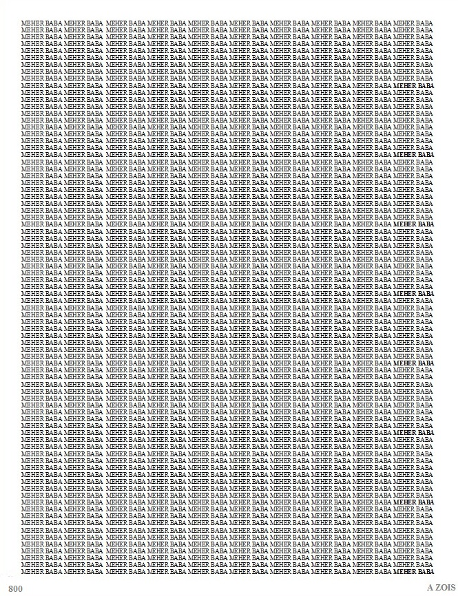 This one page has 800 X  Meher Baba. I would need to show another 125 more pages to show how many times Kaikobad repeated Meher Baba's name - 100,000 per day.