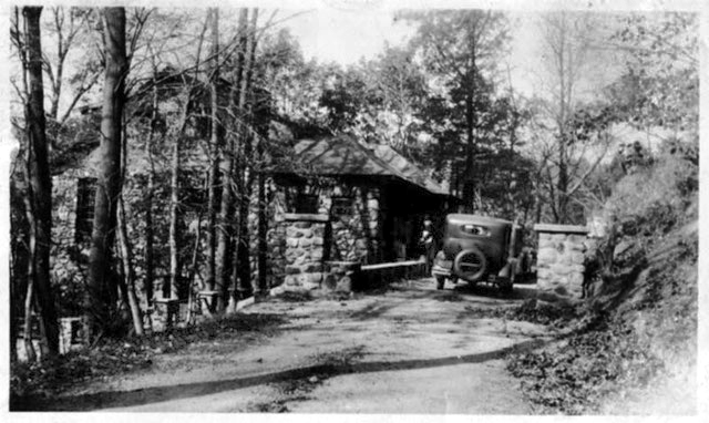 The entrance to Meherashram, 1931 - The house is on the left of the car.