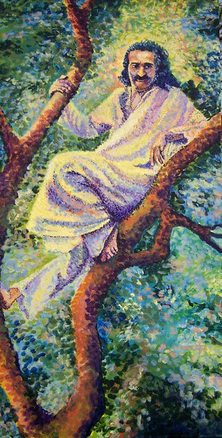 """Baba in Trimbak Tree""  2015 ; Artwork by Kathleen Gray. Acrylic on canvas."