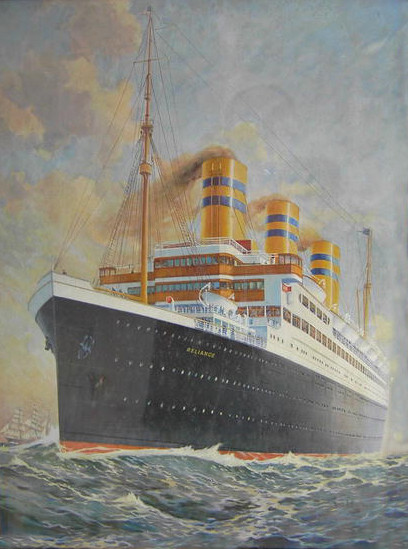 "Description: This is a framed print of the SS Reliance. Plate on bottom of frame reads ""United American Lines Joint Service with Hamburg American Line"". Artist Fred J. Hoertz (?)"