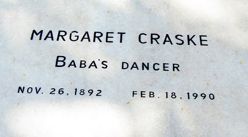 Margaret Craske's Grave inscription at Upper Meherabad, MS., India