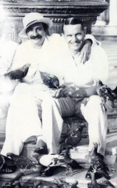 1932 Venice : Meher Baba relaxing with Herbert Davy before his journey to Warsaw & China by trains. Cropped image by A. Zois