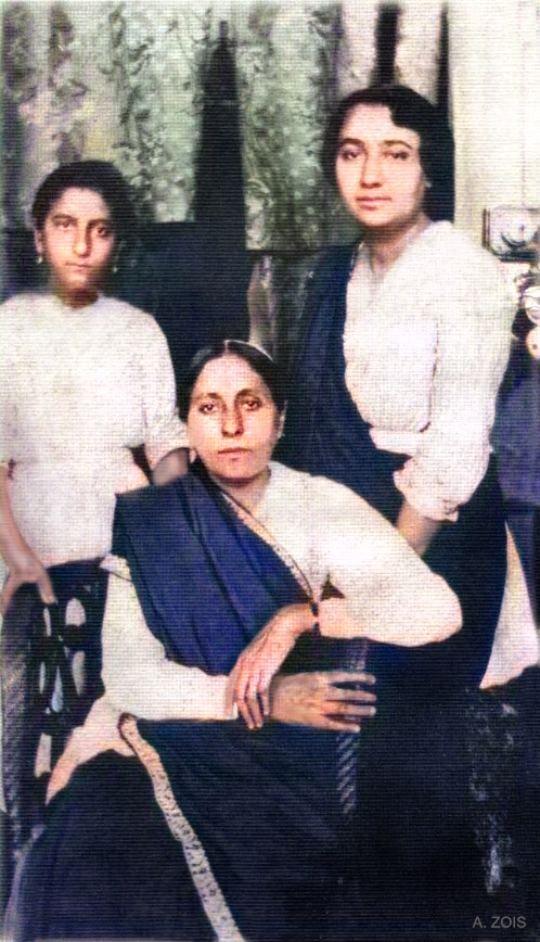 Mid-1923 _ Quetta ( then British West India ) : Standing ( L-R ) Khorshed K. Irani, Khorshed R.Irani [ Dr.Goher's mother ] & seated Gilmai K. Irani. Courtesy of Glow Int.magazine Fall 2018.  Image colourized by Anthony Zois