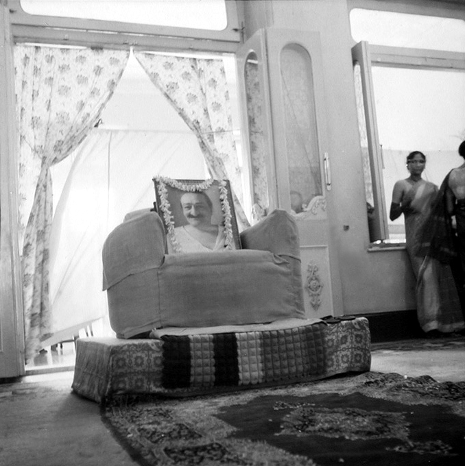 Baba's chair at the Great Darshan in Guruprasad April May, June 1969. Courtesy of Sriramamoorthy Collection & AMBCCPT.