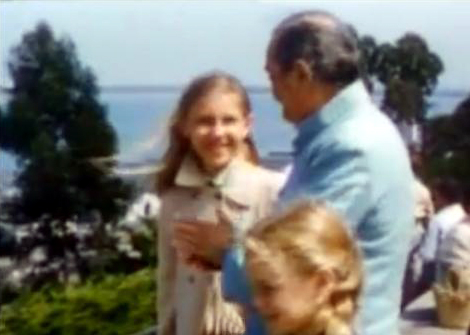 1956 ; Coit Tower - Meher Baba and his entourage are taking in the view of the harbour. Diane Dimpfl ( 3-B ) later Cobb standing next to Baba in the light coat.