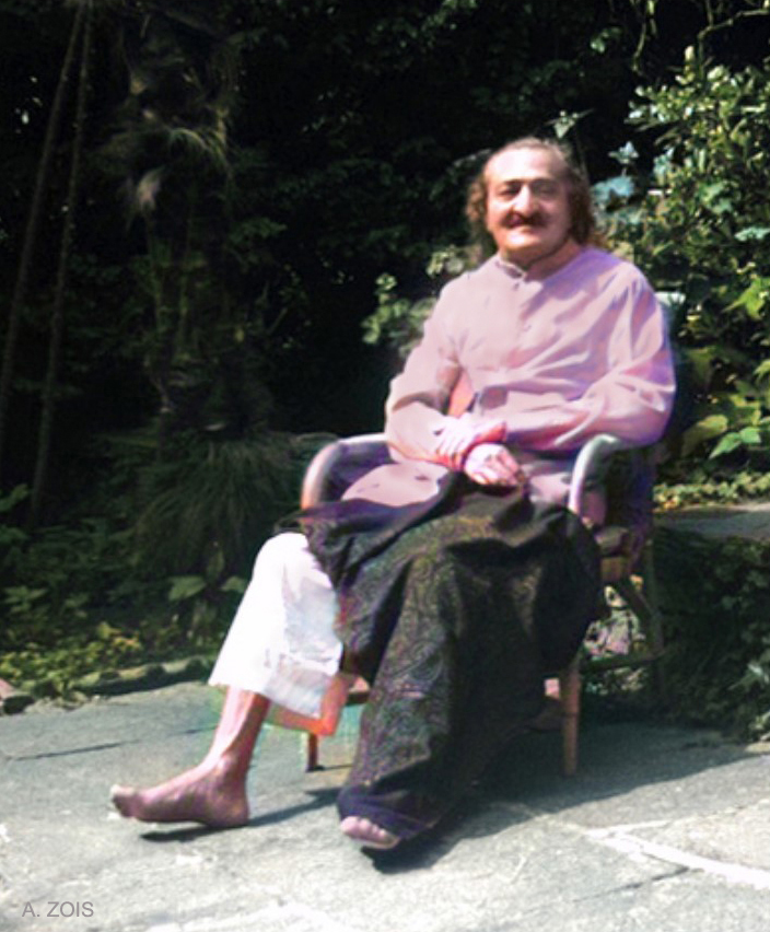 1952 : Meher Baba recouperating at the Merten's home, Locarno, Switzerland. Image cropped. Image colourized by Anthony Zois.