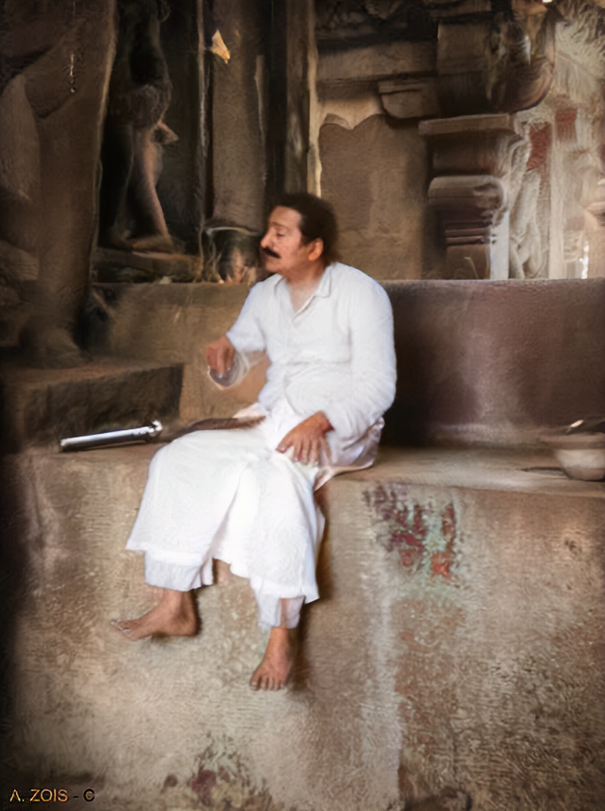 Meher Baba at Ellora. Image colourized by Anthony Zois.