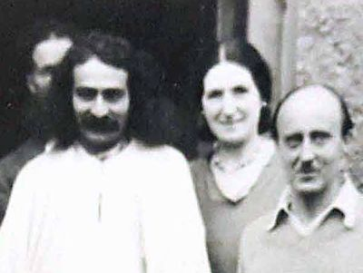Cropped image ; ( L-R ) Tom Sharpley ( behind Baba ), Meher Baba, Ann Powell, Meredith Starr at East Challocombe, England in 1932