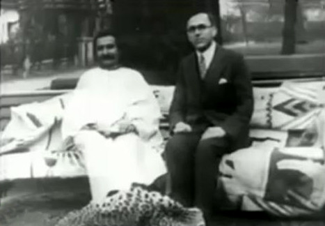 Meher Baba & Charles B. Purdom at Russell Road garden, London. 1932