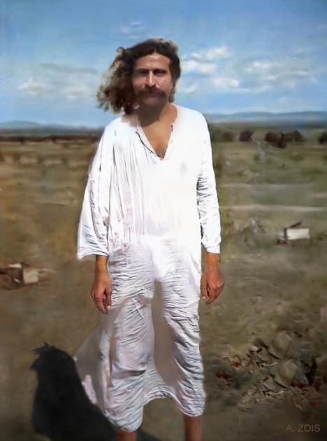 25.  1930 : Meher Baba at Meherabad. Original photo taken by Paul Brunton.