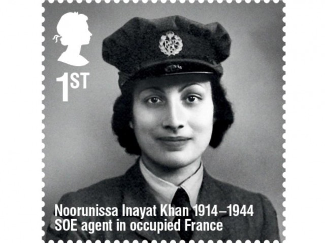 2014 ; In March , the U.K.'s Royal Mail released a stamp honoring Noor Inayat Khan