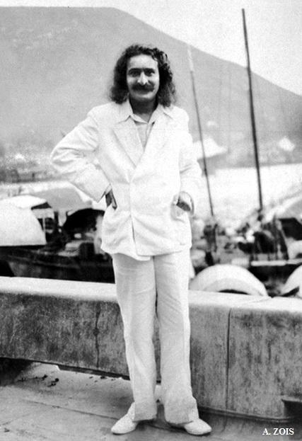 June 1932 ; Meher Baba beside Xuanwu Lake, Nanjing, China. ( cropped image by A. Zois ) Original B/W image.