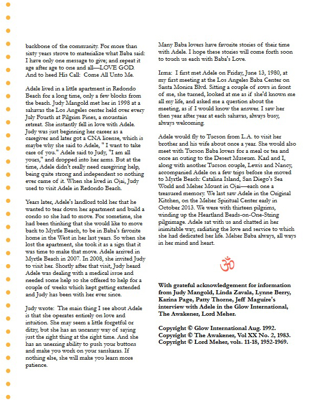 The 6-page article on Adele is courtesy of Om Point magazine - Summer 2016