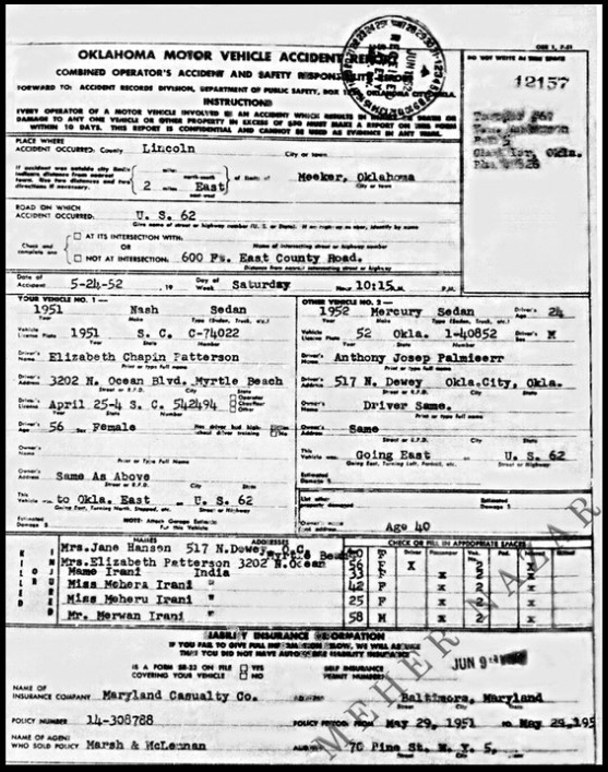 Report of the 1952 automobile accident with the Oklahoma Highway Patrol. Courtesy of MN Publ.