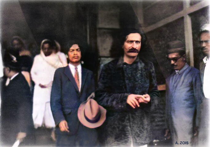 1931 : Meher Baba & assistant Agha Ali seen arriving at Ballard Pier, Bombay. Image colourized by Anthony Zois.