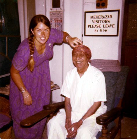 Vesta fooling with Pendu Irani at Meherazad, India