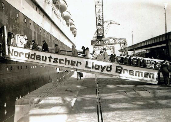 Boarding the SS Bremen.