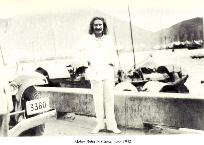June 1932 : Meher Baba beside the Huangpu River on the Bund.