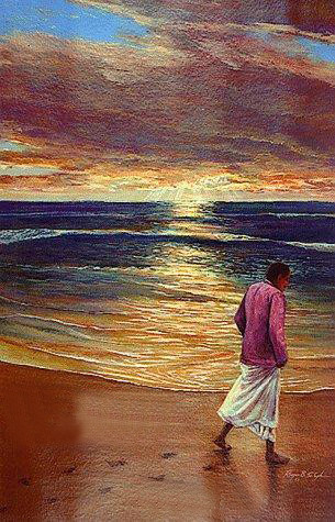 "Painting ; this was used as a book cover for"" Footprints in the Sand "", by the same artist."