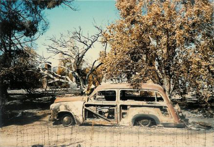 "1985 ; Agnes' burned-out car ""Woody"" - this is the car she drove Baba from LA to Meher Mount and back and also drove Baba in San Fransisco in 1956 --  Courtesy of Sam Ervin"