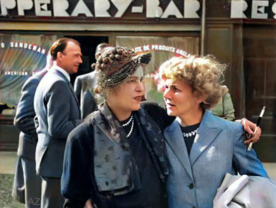Paris, 1947. Mme. Mary Allez and Alice Allen. Three years later, Mme. Allez died in Paris. Mr. Allez can be  seen on the rear left of Mary. Image colourized by Anthony Zois.