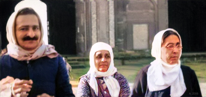Meher Baba with Soonamai & her sister Gulmai Irani on tour in India. Image colourized by Anthony Zois.