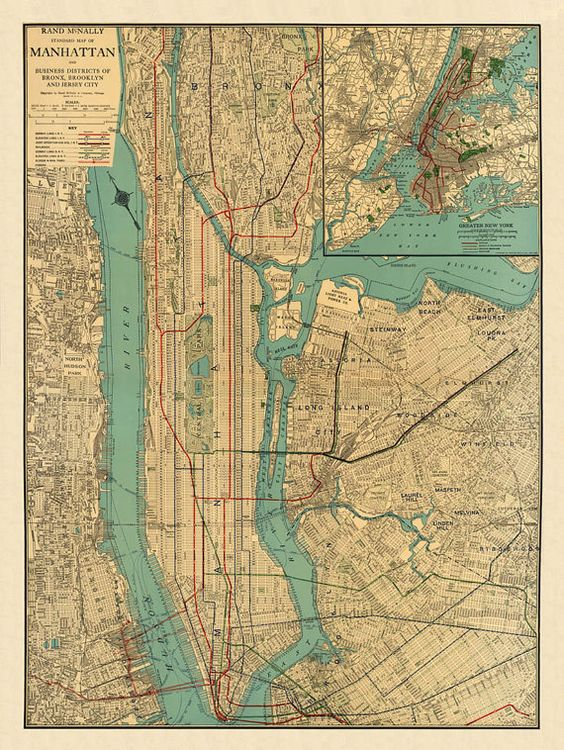 Map of Manhattan, New York City from 1922