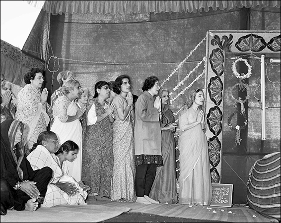 The first Amartithi—31 January 1970 - Mehera & the women mandali singing Arti.