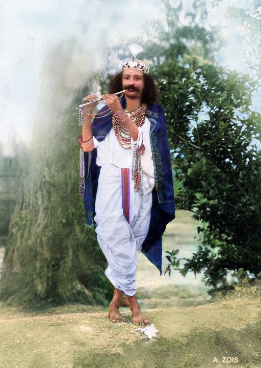 1928, Toka, India : Meher Baba dressed as Krishna. Image colourized by Anthony Zois.