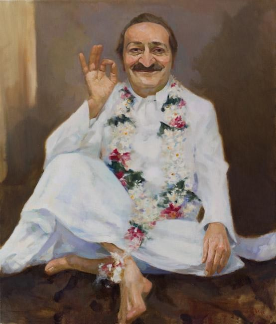 Meher Baba in Adi K. Irani Office, September, 1954 ; Artist - Gregg Rosen